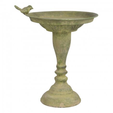 Bain oiseau en métal vieilli - D 23,9 cm x H 34 cm - Vert