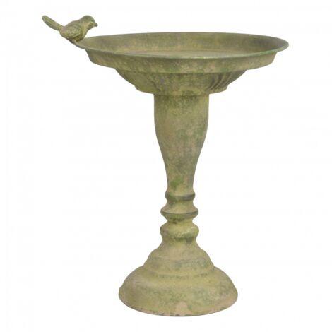 Bain oiseau en métal vieilli - D 23,9 cm x H 34 cm - Vert - Livraison gratuite