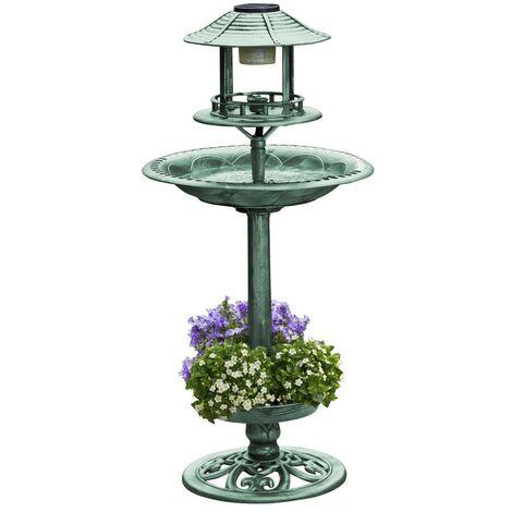 Bain solaire pour oiseaux avec bac à fleurs, vert
