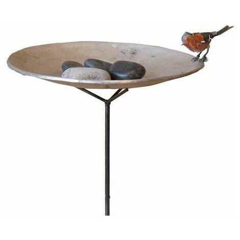 Bain sur pied et galet avec un oiseaux