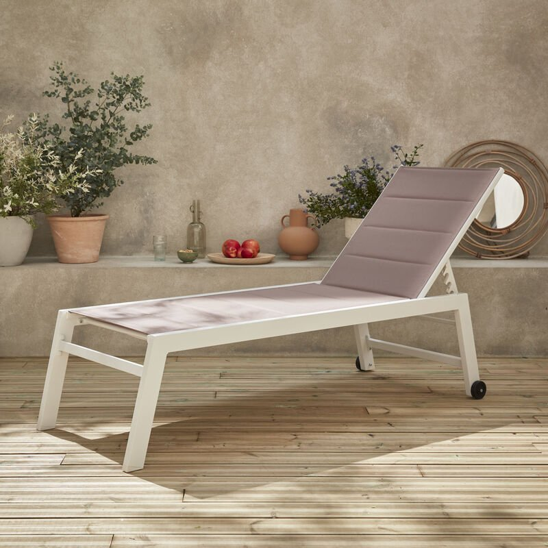 Bains de soleil Solis en textilène matelassé. transats 6 positions. lounge Blanc / Taupe