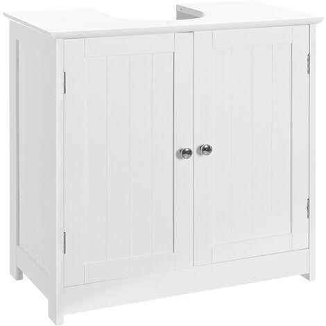 Bajo lavabo con armario de madera blanco de 60x30x60 cm
