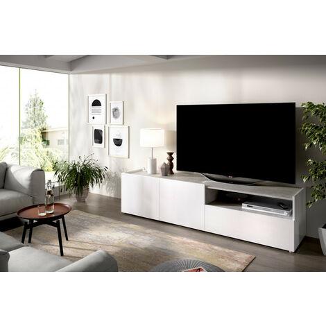 Bajo TV modelo KLOE 03K5154348 en color blanco con cemento
