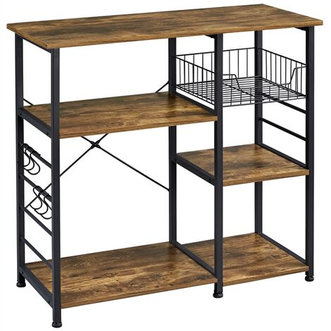 Baker's Rack Industrial Kitchen Island Microwave Storage Rack with Metal Mesh Basket Shelves and 6 Hooks, 90X39X84cm, Standing Coffee Bar Table Metal Frame