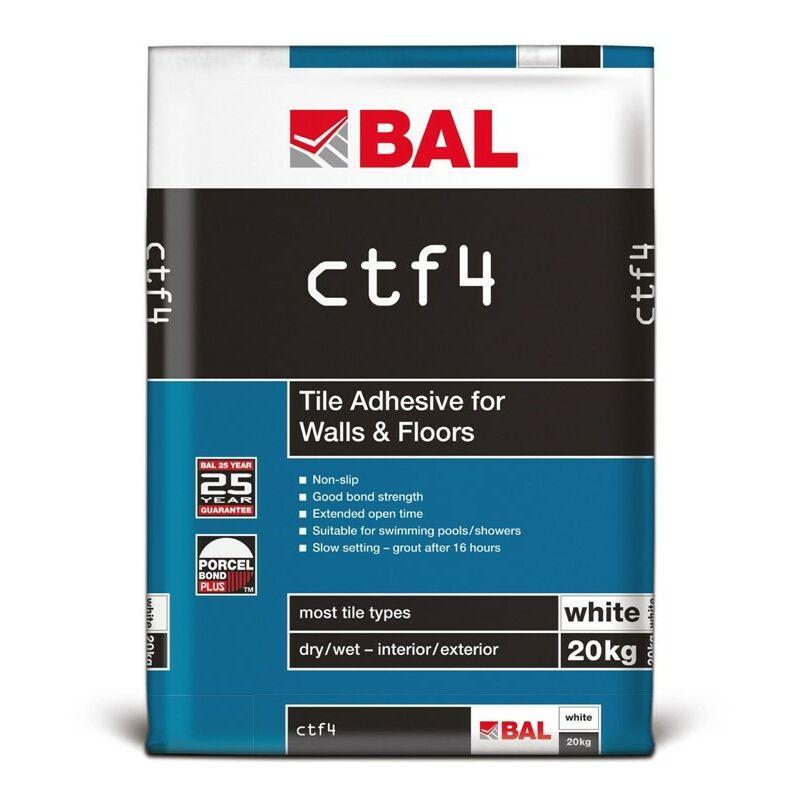 Image of CTF4 Tile Adhesive For Walls & Floors - White 20kg - BAL