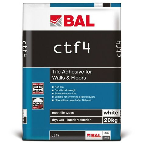 BAL CTF4 Tile Adhesive For Walls & Floors - White 20kg