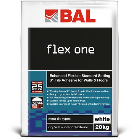 BAL Flex One Tile Adhesive For Walls & Floors - White 20kg