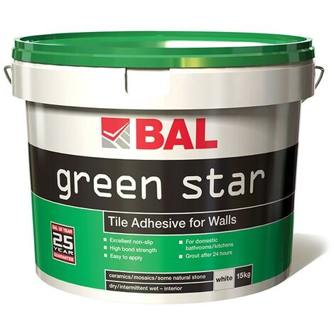 BAL Green Star Tile Adhesive for Walls - White 15kg
