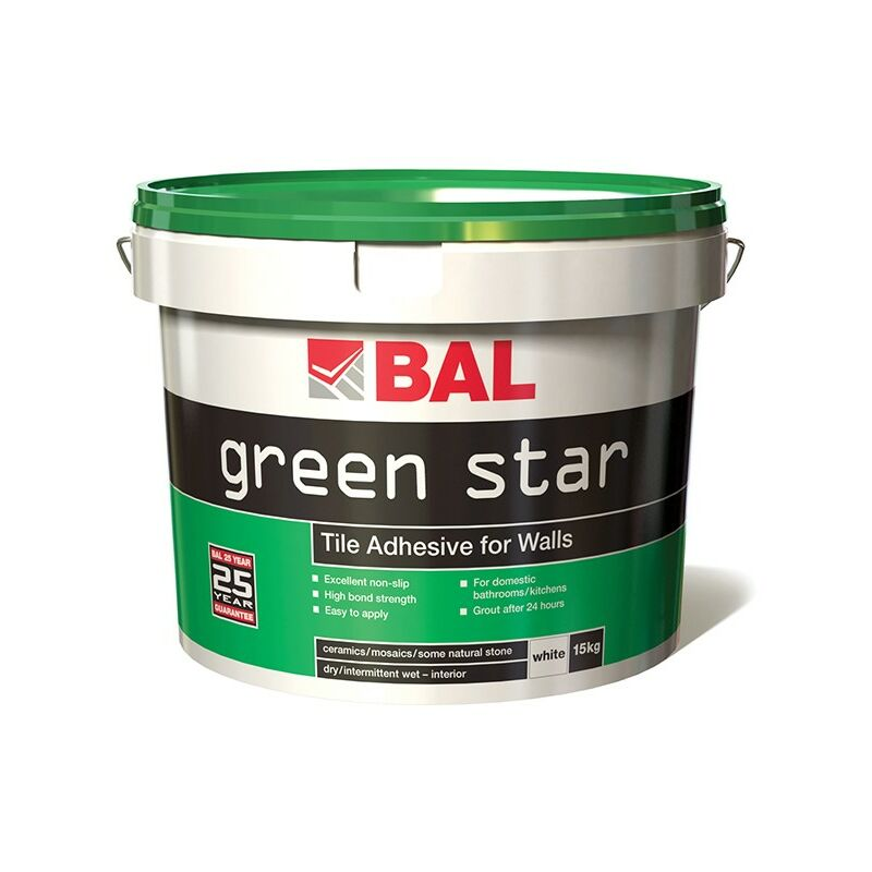 Image of Green Star Tile Adhesive for Walls - White 15kg - BAL