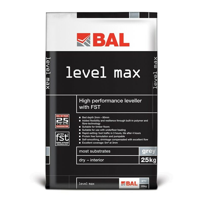 Image of BAL Level Max All-In-One Floor Self Levelling Compound - Grey 25kg