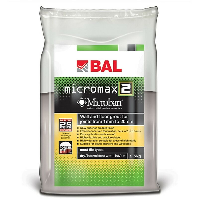 Image of Micromax2 Grout for Walls & Floors - Smoke 2.5kg - size - color Smoke - BAL