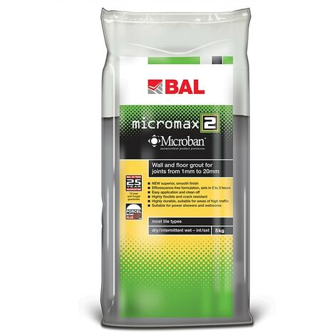 BAL Micromax2 Grout for Walls & Floors - Smoke 5kg - size - color Smoke