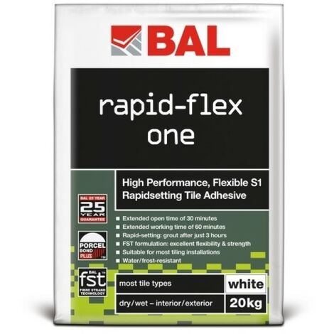 BAL Rapid-Flex One Flexible S1 Rapid Setting Tile Adhesive - White 20kg