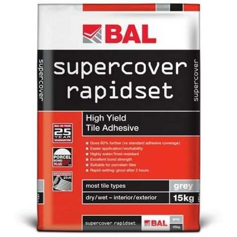BAL Supercover Rapidset High Yield Tile Adhesive - Grey 15kg
