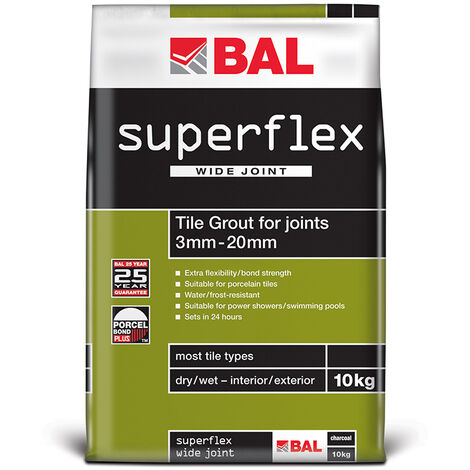 BAL Superflex Wide Joint Grout for Walls & Floors - Grey 10kg