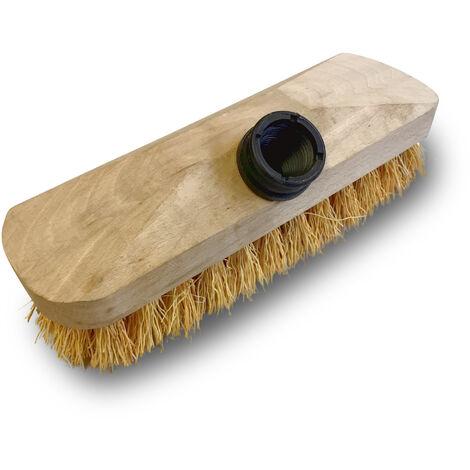 Balai brosse lave-pont 22 cm en chiendent - Monture bois - Douille vissante plastique - Quantité x 3 - Chiendent avec manche