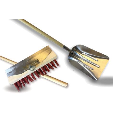 Balai de cantonnier avec racloir métallique + Pelle aluminium - Balai 32 cm - Garnissage PVC rouge - Quantité x 3 - Court Racloir + Manche + Pelle