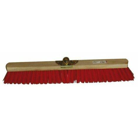 Balai industrie professionnel douille metal inclinee 60 cm pvc rouge