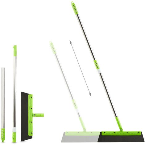 Balai raclette, manche télescopique, 3 lames, essuie carrelage, fenêtres, douche, HxL128x35 cm, vert clair
