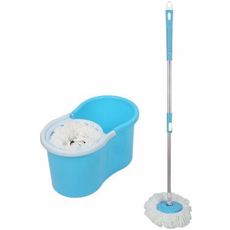 Balai Serpillère Vapeur Mop 360° avec Seau Bac Rotatif Set Complet bleu