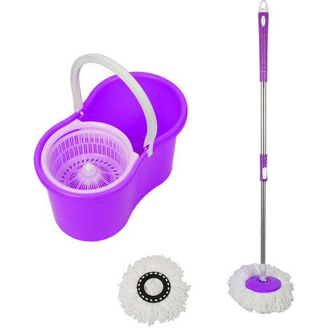 Balai serpillière magique rotatif et seau essoreur 2 Têtes violet - violet