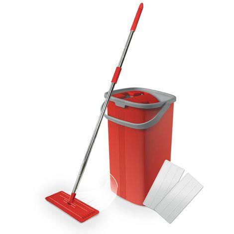 Balai Smart Compact rouge | Balai serpillere professionne avec seau essoreur | Balai magique | Serpiere seau essoreur - Rouge - Rouge