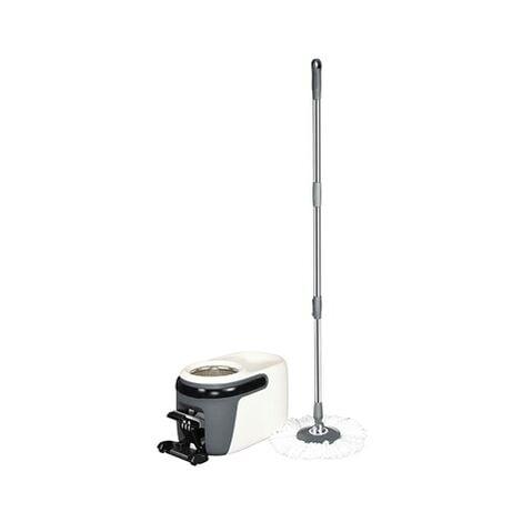 Balai TURBO MOP DELUX système rotatif 360° + 2 mops à franges microfibres + 1 Manche télescopique 125 cm