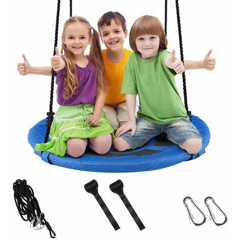 Balançoire réglable corde enfants adultes arrière cour siège suspendu rond charge 150kg Bleu - Bleu