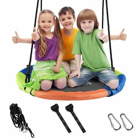 Balançoire réglable corde enfants adultes arrière cour siège suspendu rond charge 150kg colore - Colore