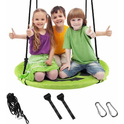 Balançoire réglable corde enfants adultes arrière cour siège suspendu rond charge 150kg Vert - Vert