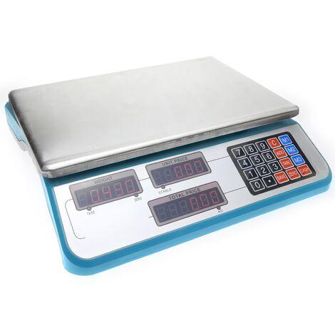 - Balance de bureau avec plateau de 34x24cm 30Kg de couleur bleu