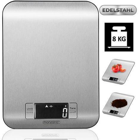 Balance de cuisine 8kg acier digitale avec écran LCD balance postale argent 2 piles lithium incluses plusieurs unités de mesure
