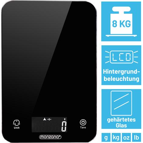 Balance de cuisine 8kg digitale avec écran LCD noir avec éclairage verre trempée balance postale 2 piles lithium incluses plusieurs unités de mesure
