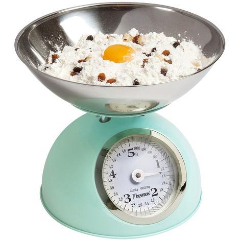 Balance de cuisine, bol en acier inoxydable, capacité jusqu'à 5 kg, vert menthe