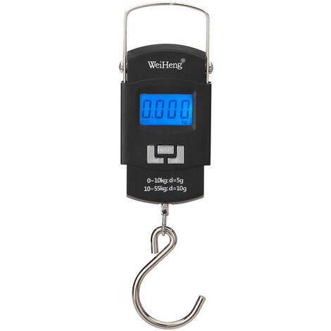 Balance electronique portable rechargeable WeiHeng WH-A25 avec retro-eclairage Batterie au lithium integree a double precision de 55 kg