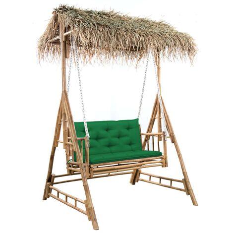 Balancelle 2 places feuilles de palmier et coussin 202cm Bambou