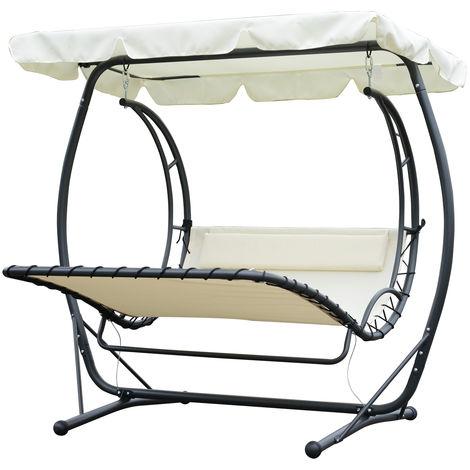 Balancelle bain de soleil de jardin 2 places design contemporain grand confort inclinaison toit réglable 2L x 1,66l x 1,8H m métal polyester textilène crème