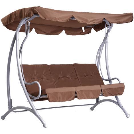 Balancelle balancoire fauteuil de jardin en acier 3 places charge max. 360kg chocolat