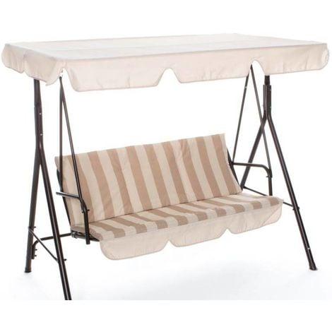 Balancelle Capua 3 places avec structure en fer | Beige