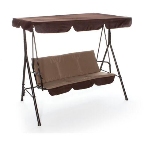 Balancelle Capua 3 places avec structure en fer et tissu marron | marron