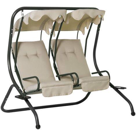 Balancelle de jardin 2 places indépendantes 2 tablettes supports coussins assise dossier grand confort 1,7L x 1,36l x 1,7H m acier noir polyester gris