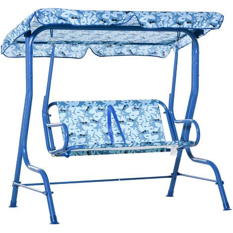 Balancelle de jardin 2 places pour enfants ceintures sécurité réglables accoudoirs pare-soleil inclinable motif requin bleu