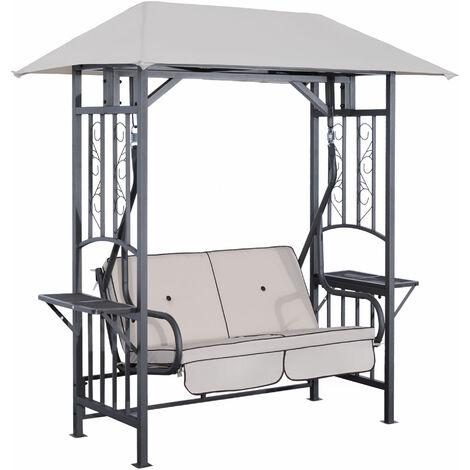 Balancelle de jardin 2 places style colonial grand confort matelas + tablettes supports métal époxy gris foncé polyester gris clair