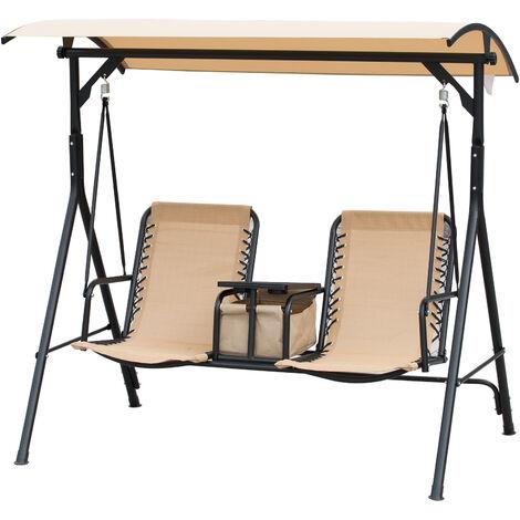 Balancelle de jardin 2 places table d'appoint pivotante + rangement intégré inclinaison toit réglable acier noir polyester beige