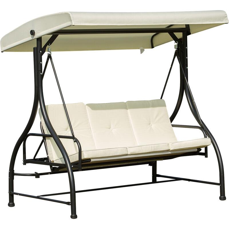 Balancelle de jardin 3 places convertible inclinaison toit réglable matelas grand confort rembourrage 8 cm fourni 1,96L x 1,17l x 1,78H m métal époxy