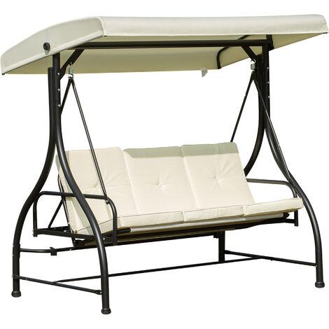 Balancelle de jardin 3 places convertible inclinaison toit réglable matelas grand confort rembourrage 8 cm fourni 1,96L x 1,17l x 1,78H m métal époxy noir crème