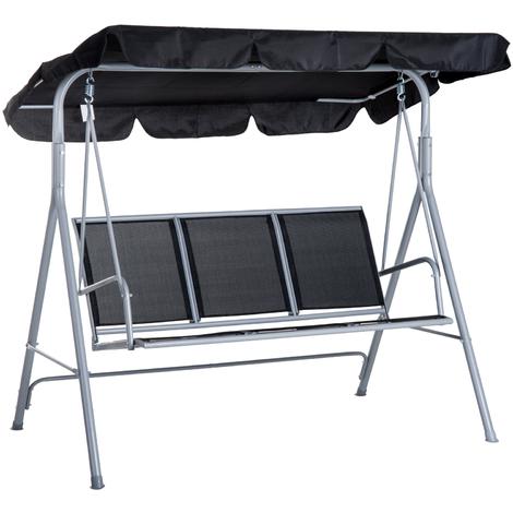 Balancelle de jardin 3 places grand confort toit imperméabilisé inclinaison réglable assise et dossier ergonomique 1,7L x 1,1l x 1,53H m acier textilène noir