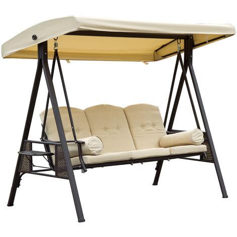 Balancelle de jardin 3 places grand confort toit inclinaison réglable coussins plateaux rétractables polyester filé beige