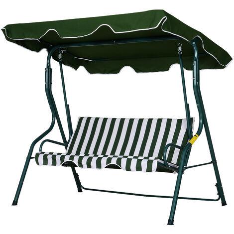 """main image of """"Balancelle de jardin 3 places toit imperméabilisé inclinaison réglable coussins assise dossier 1,7L x 1,1l x 1,53H m métal époxy polyester vert blanc rayé"""""""