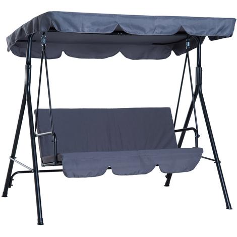 Balancelle de jardin 3 places toit imperméabilisé inclinaison réglable coussins assise et dossier 1,72L x 1,1l x 1,52H m acier noir polyester